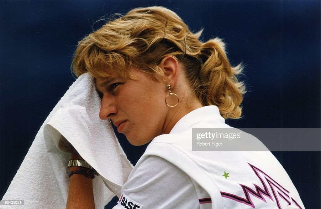 Steffi Graf looks on during a match at the 1988 US Open in Flushing, New York.