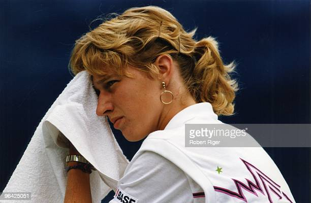 Steffi Graf looks on during a match at the 1988 US Open in Flushing New York