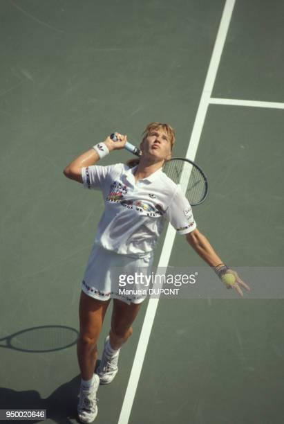 Steffi Graf lors du tournoi de tennis de Flushing Meadows en septembre 1989 à New York EtatsUnis