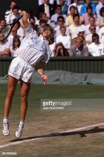 Steffi Graf lors du tournoi de tennis de Wimbledon le 2 juillet 1988 RoyaumeUni
