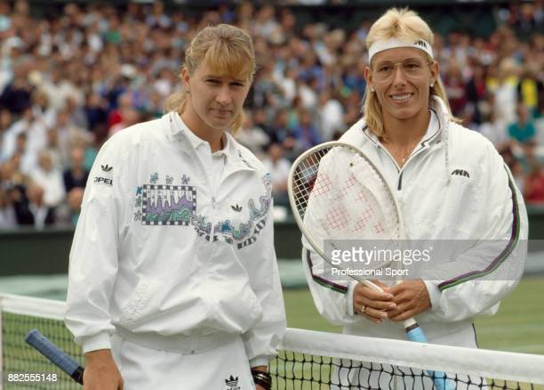 Steffi Graf of Germany and Martina Navratilova of the USA pose together prior to the Women's Singles Final of the Wimbledon Lawn Tennis Championships...