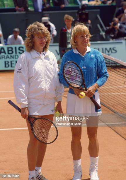 Steffi Graf of Germany and Martina Navratilova of the USA pose together before the Women's Singles Final of the French Open Tennis Championships at...