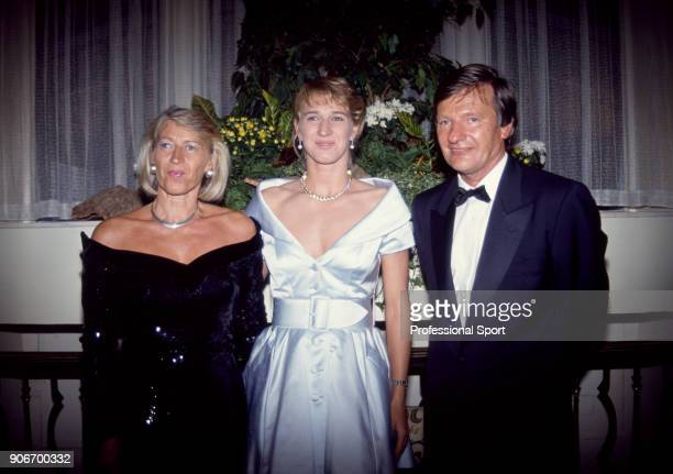 Steffi Graf of Germany at the Wimbledon Champions' Dinner with her parents mother Heidi and father Peter after the Wimbledon Lawn Tennis...
