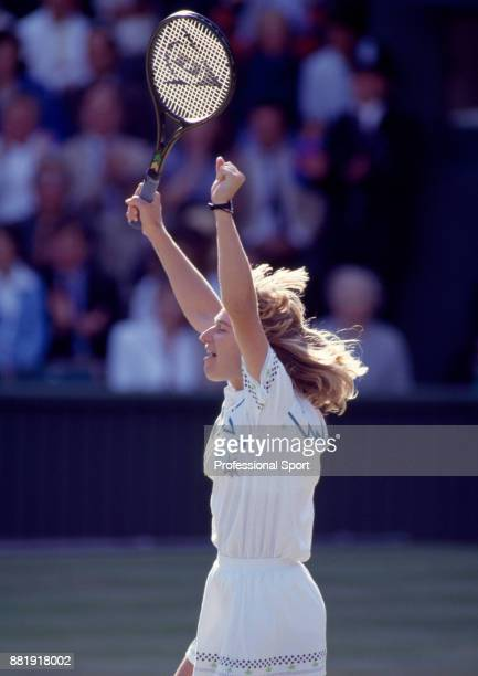 Steffi Graf of Germany celebrates as she wins the Women's Singles Final against Martina Navratilova of the USA in the Wimbledon Lawn Tennis...