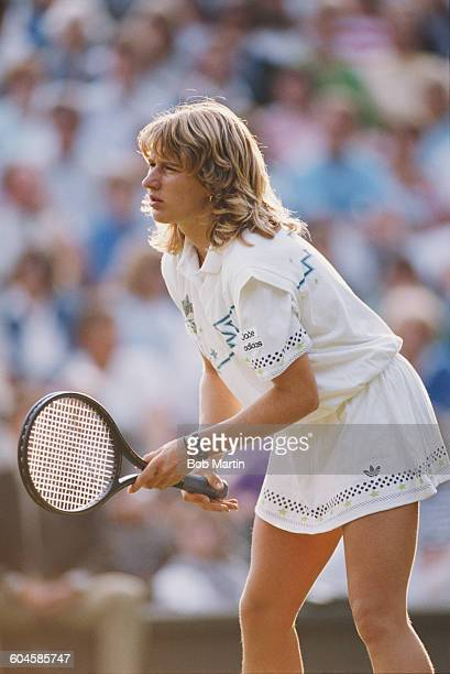 Steffi Graf of Germany during her Women's Doubles second round match with Gabriela Sabatini at the Wimbledon Lawn Tennis Championship on 22 June 1988...