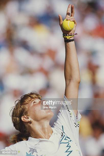 Steffi Graf of Germany during her Women's Singles Final match at the ATP Lipton Tennis Championship against Chris Evert on 28 March 1988 at the...