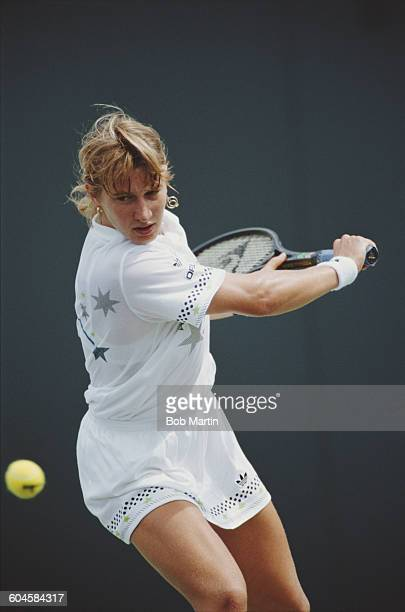 Steffi Graf of Germany during her Women's Singles first round match at the ATP Lipton Tennis Championship against Jana Novotna on 14 March 1988 at...