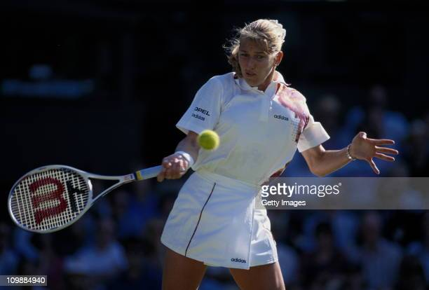 Steffi Graf of Germany during her Women's Singles match against Martina Hingis during the Wimbledon Lawn Tennis Championship on 27th June 1995 at the...