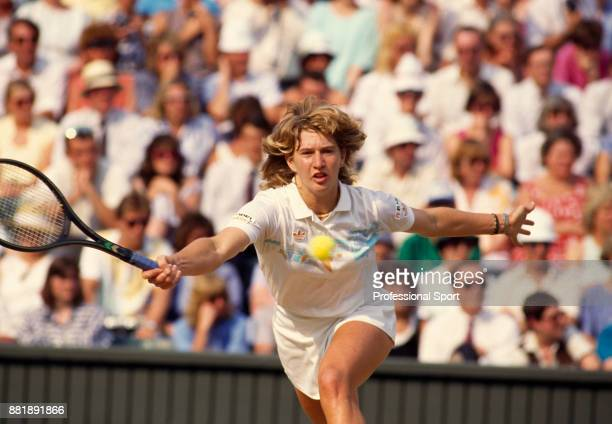 Steffi Graf of Germany in action against Martina Navratilova of the USA during the Women's Singles Final of the Wimbledon Lawn Tennis Championships...