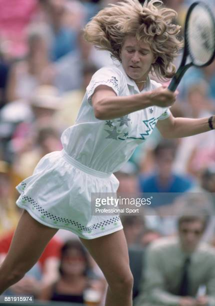 Steffi Graf of Germany in action against Martina Navratilova of the USA in the Women's Singles Final of the Wimbledon Lawn Tennis Championships at...