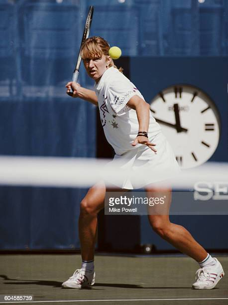 Steffi Graf of Germany makes a return against Gabriela Sabatini during the Women's Singles Final at the United States Open Tennis Championship on 10...