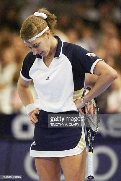 Steffi Graf of Germany reacts after losing a point in the third set in her semifinal match against Lindsay Davenport of the US at the 1998 Chase...