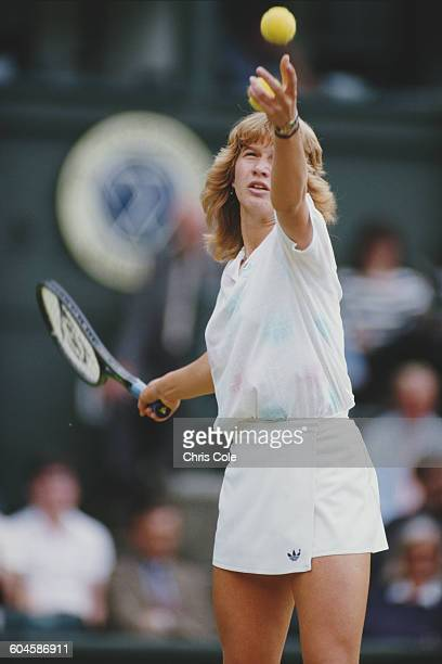 Steffi Graf of Germany serves against Martina Navratilova during their Women's Singles Final at the Wimbledon Lawn Tennis Championship on 4 July 1987...