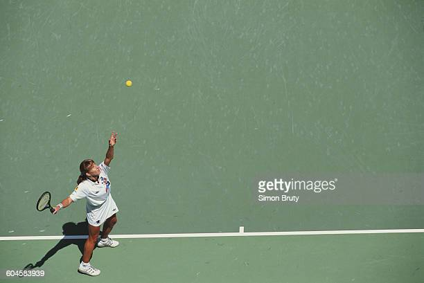 Steffi Graf of Germany serves to Monica Seles during their Women's Singles Final of the Australian Open on 30 January 1993 in Flinders Park Melbourne...