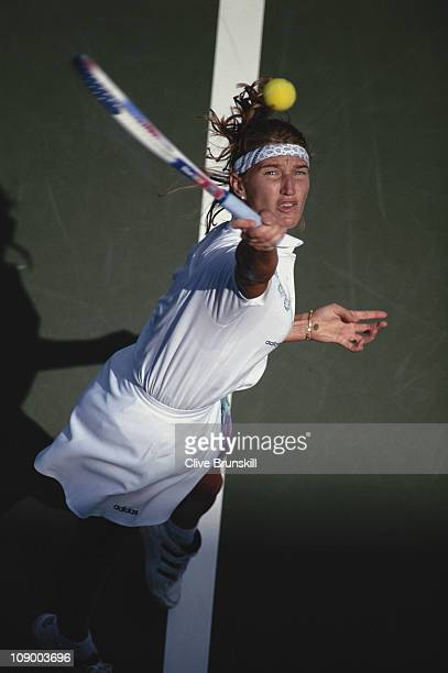 Steffi Graf of Germany serves to Sandra Cacic during their Women's Singles match at the USOpen Tennis Championship on 1st September 1994 at the USTA...