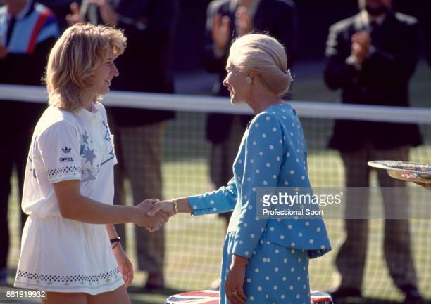 Steffi Graf of Germany shaking hands with the Duchess of Kent after defeating Martina Navratilova of the USA in the Women's Singles Final of the...