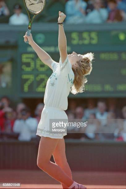 Steffi Graf pictured as she celebrates her first Wimbledon Ladies Final win. Steffi Graf beats current 6 times defending champion Martina...