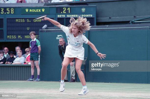 Steffi Graf pictured in action in the Wimbledon Ladies Singles Final on 2nd July 1988. Steffi Graf beats current 6 times defending champion Martina...