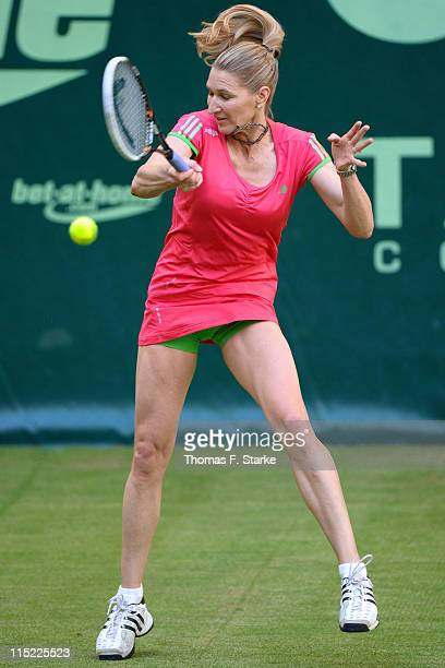 Steffi Graf plays a forehand during the Warsteiner Champions Trophy of the Gerry Weber Open at the Gerry Weber stadium on June 4 2011 in Halle Germany