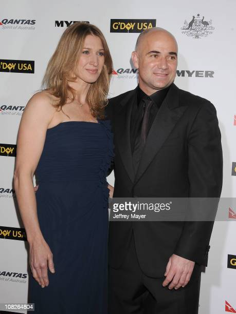 Steffi Graff and Andre Agassi arrive at the G'Day USA Australia Week 2011 Black Tie Gala at Hollywood Palladium on January 22 2011 in Hollywood...