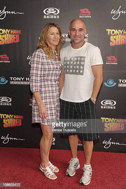Steffi Graff and Andre Agassi arrive at the Tony Hawk Shred benefit at The Wynn Hotel And Casino Resort on November 6 2010 in Las Vegas Nevada
