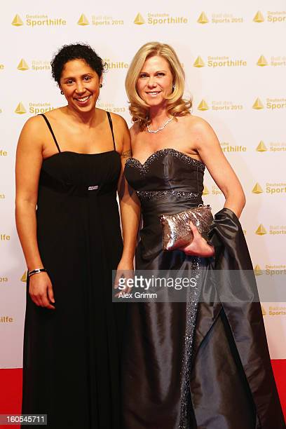 Steffi Jones and Nicole Parma arrive for the 'Ball des Sports 2013' at RheinMainHallen on February 2 2013 in Wiesbaden Germany