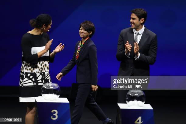 Steffi Jones Aya Miyama and Kaka on stage during the FIFA Women's World Cup France 2019 Draw at La Seine Musicale on December 8 2018 in Paris France