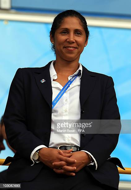 Steffi Jones chairman of the Local Organising Committee looks on before the 2010 FIFA Women's World Cup Quarter Final match between Mexico and South...