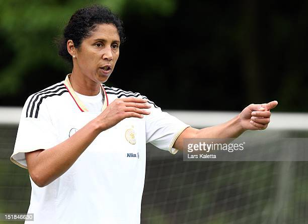Steffi Jones director of German Football Association gestures during a training session at the NFV football school training ground on September 12...