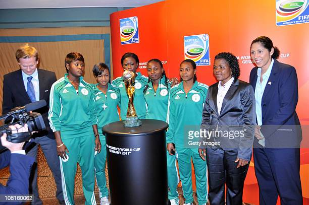 Steffi Jones FIFA Womens Organising Committee President and the Super Falcons pose with the trophy during the FIFA Women's World Cup Tour on January...