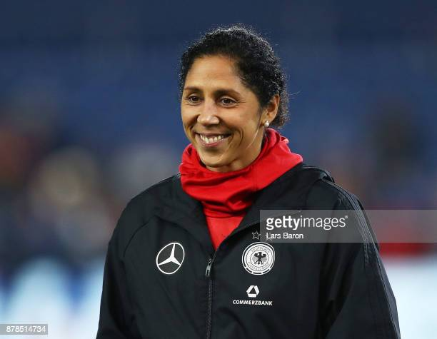 Steffi Jones head coach of Germany before the Germany v France Women's International Friendly match at Schueco Arena on November 24 2017 in Bielefeld...