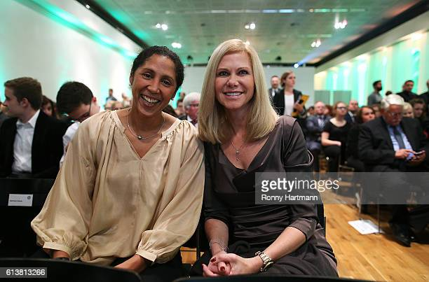 Steffi Jones head coach of Germany women's national team and her wife Nicole Jones during the JuliusHirschPreis Awarding Ceremony 2016 of the German...