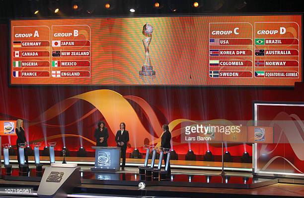 Steffi Jones head of the Local Organising Committee Tatjana Haenni head of FIFA Women's Competitions Adriana Karembeu and Guenther Netzer are seen...