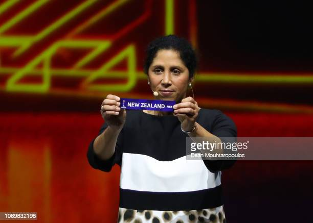 Steffi Jones picks out New Zealand during the FIFA Women's World Cup France 2019 Draw at La Seine Musicale on December 8 2018 in Paris France
