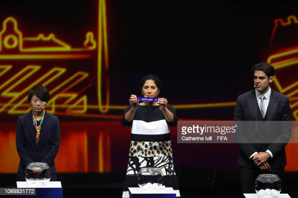 Steffi Jones picks out Scotland during the FIFA Women's World Cup France 2019 Draw at La Seine Musicale on December 8 2018 in Paris France