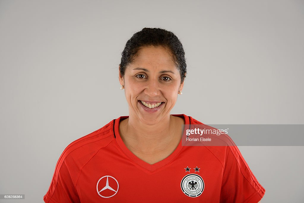 Steffi Jones poses during the team presentation of the German women's national soccer team on November 25, 2016 in Chemnitz, Germany.