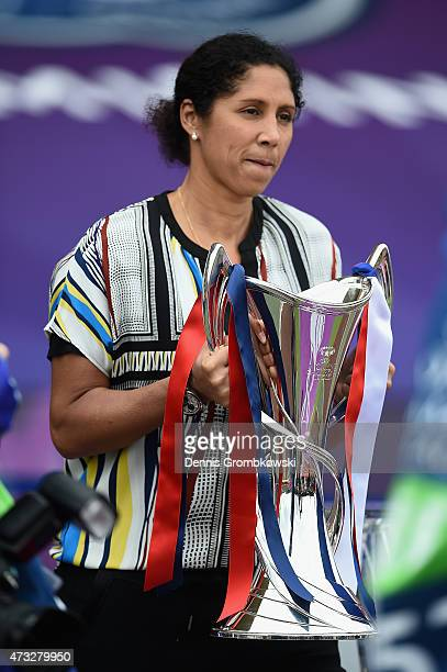 Steffi Jones presents the trophy prior to kickoff during the UEFA Women's Champions League Final between 1 FFC Frankfurt and Paris St Germain at...