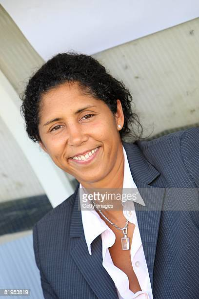 Steffi Jones, president of organisation of womens world championship 2011, poses during the Women's U19 European Championship match between Germany...