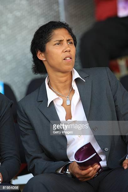 Steffi Jones, president of organisation of womens world championship 2011, is seen during the Women's U19 European Championship match between Germany...