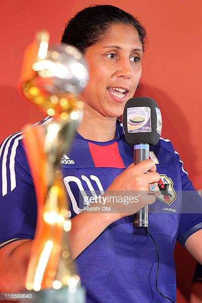 Steffi Jones President of the Women's World Cup 2011 German Organizing Committee speaks behind a trophy during a welcome event as part of the FIFA...