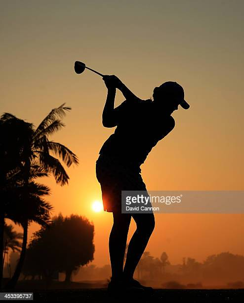 Steffi Kirchmayr of Germany makes a practice swing during a thirty minutes wait on the 10th tee for the early morning fog to clear during the first...