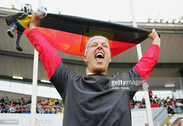 Steffi Nerius of Germany celebrates after she won gold in the Women's Javelin throw Final on day seven of the 19th European Athletics Championships...