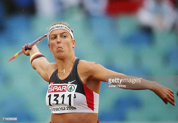 Steffi Nerius of Germany competes during the Women's Javelin throw Final on day seven of the 19th European Athletics Championships at the Ullevi...