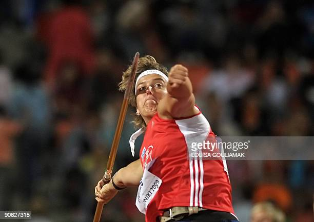 Steffi Nerius of Germany competes in javelin throwing during the World athletics final in the northern Greek town of Thessaloniki on September 12...