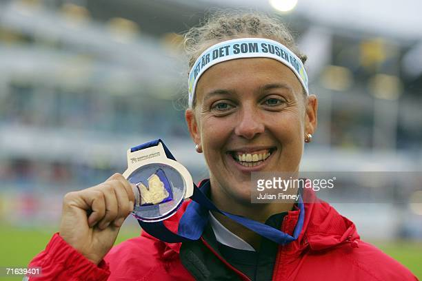 Steffi Nerius of Germany poses with her gold medal during the medal presentation for the Women's Javelin on day seven of the 19th European Athletics...