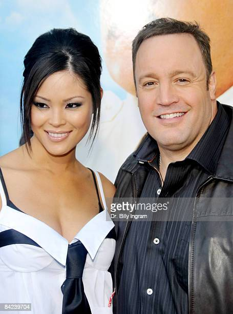 Steffiana De La Cruz and Kevin James arrive at the Los Angeles premiere of Paul Blart Mall Cop at the Mann Village Theatre on January 10 2009 in...
