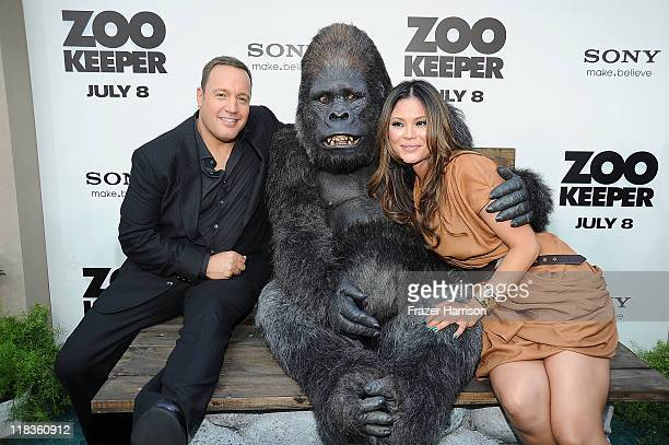 Steffiana de la Cruz and Kevin James arrive at the Premiere of The Zookeeper at the Regency Village Theater Westwood on July 6 2011 in Los Angeles...