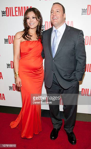 Steffiana de la Cruz and Kevin James attend the world premiere of The Dilemma at AMC River East Theater on January 6 2011 in Chicago Illinois