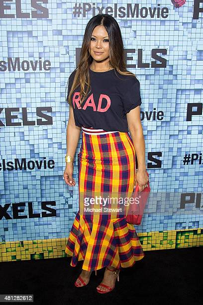 Steffiana de la Cruz attends the 'Pixels' New York premiere at Regal EWalk on July 18 2015 in New York City