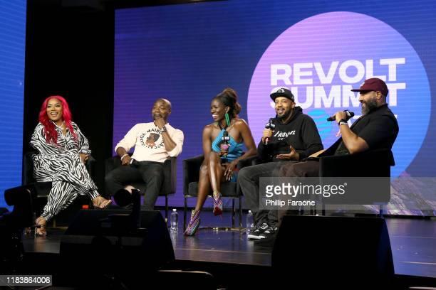 Stefflon Don, Abiola Oke, Bozoma Saint John, Tuma Basa and Ebro Darden speak onstage at the REVOLT X AT&T Host REVOLT Summit In Los Angeles at Magic...